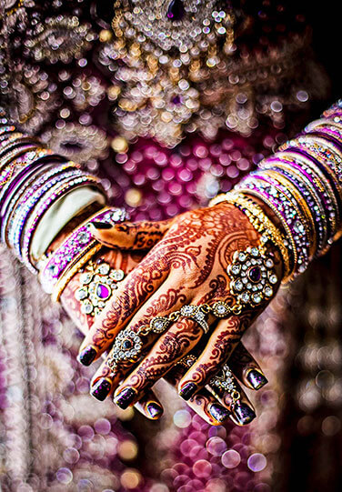 indian enagaement dress henna and rings