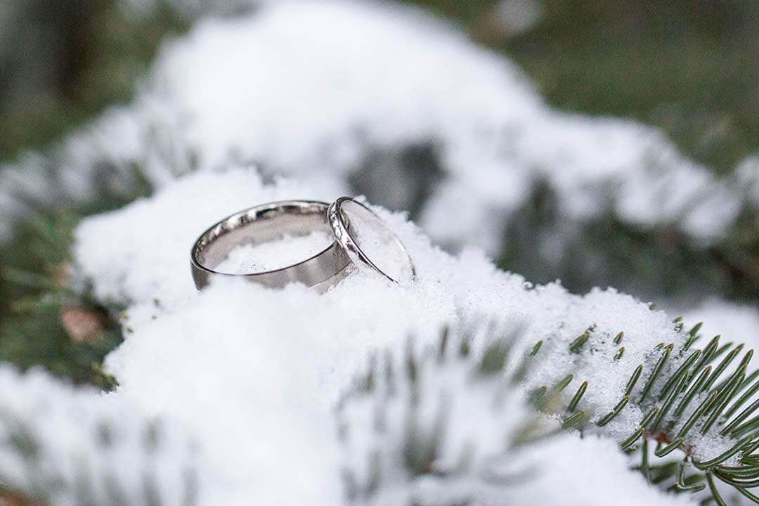 wedding rings on snow