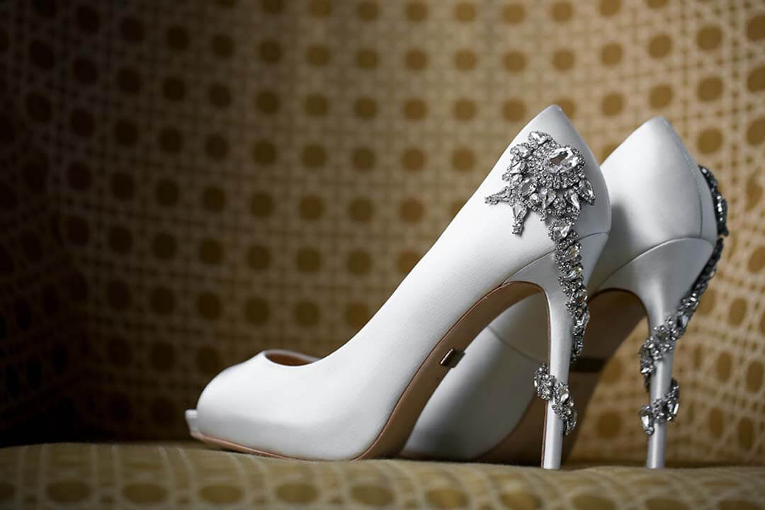 bejewelled white wedding shoes